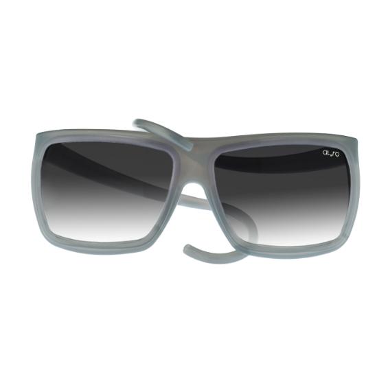 occhiale in gomma square collection lente sfumata - grigio trasparente