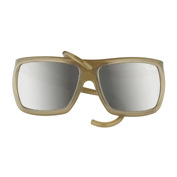 occhiale in gomma square collection lente specchiata - tortora