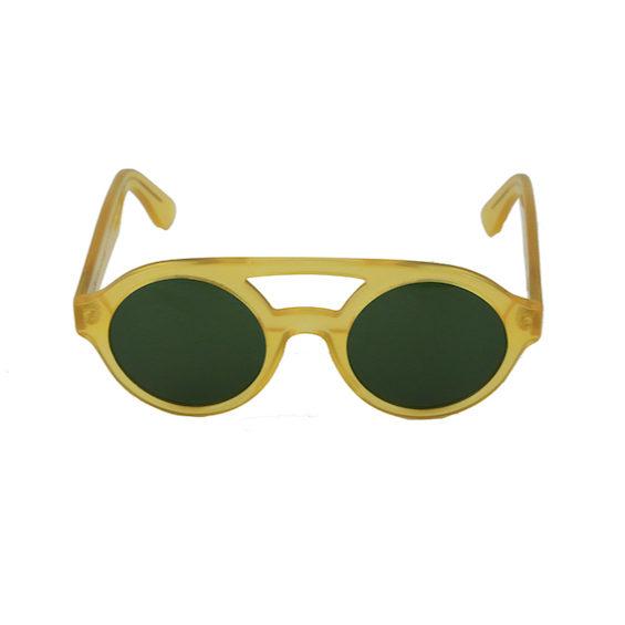 Occhiale Forma Doppio Ponte Miele con lente verde