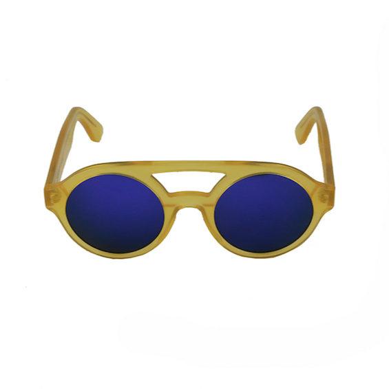 Occhiale Forma Doppio Ponte Miele con lente multilayer viola