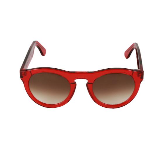Occhiale Forma Phantos Rosso con lente sfumata marrone