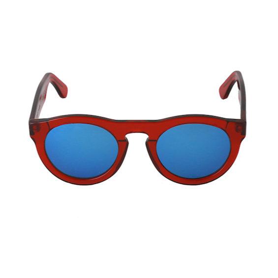 Occhiale Forma Phantos Rosso con lente multilayer blu