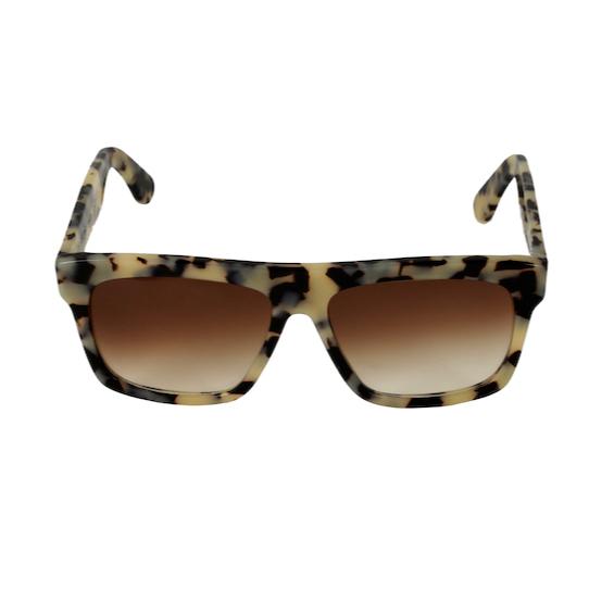 Occhiale Forma Quadrato Havana Bianca con lente sfumata marrone
