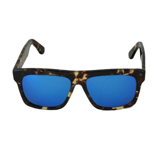 Occhiale Forma Quadrato Havana con lente multilayer blu