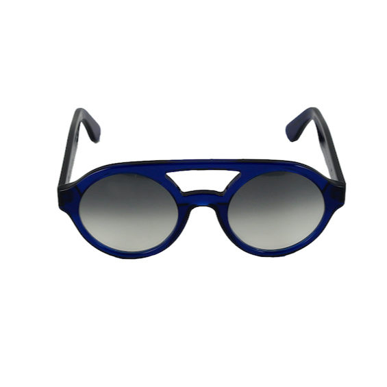 Occhiale Forma Doppio Ponte Blu con lente sfumata nera