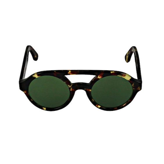 Occhiale Forma Doppio Ponte Havana con lente verde