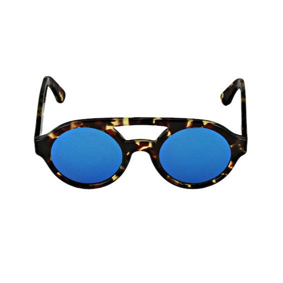Occhiale Forma Doppio Ponte Havana con lente multilayer blu