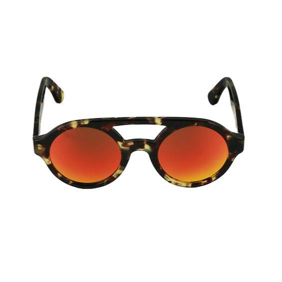 Occhiale Forma Doppio Ponte Havana con lente multilayer rosso