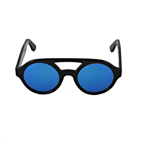 Occhiale Forma Doppio Ponte Nero con lente multilayer blu