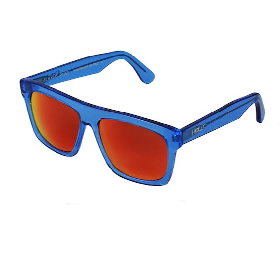 Occhiale Forma Quadrato Blu Trasparente con lente multilayer rossa