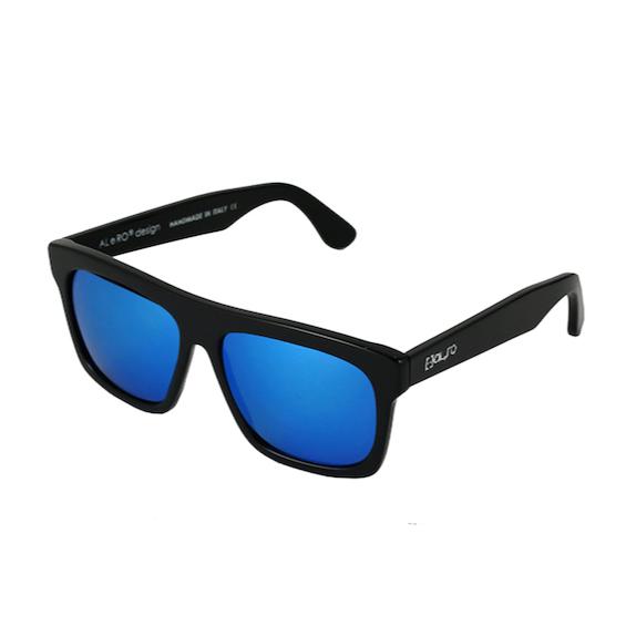 Occhiale Forma Quadrato Nero con lente multilayer blu